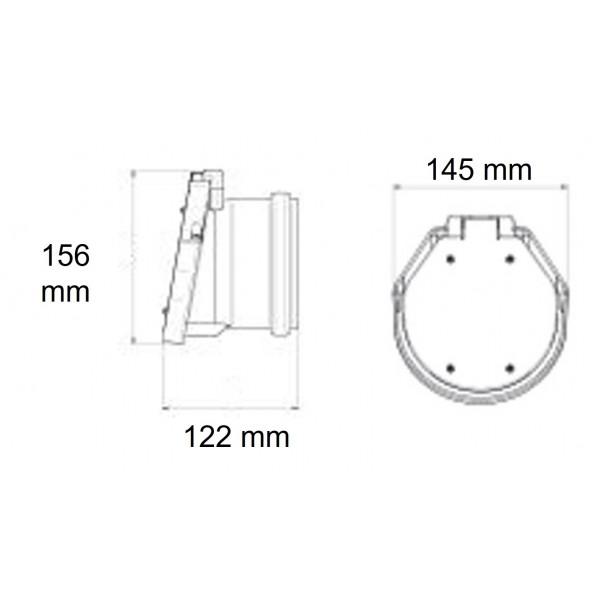 Dimensions du clapet de nez 100 Femelle à coller
