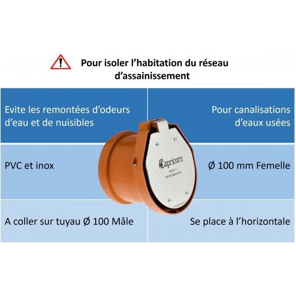 Avantages du clapet de nez à coller 100 mm