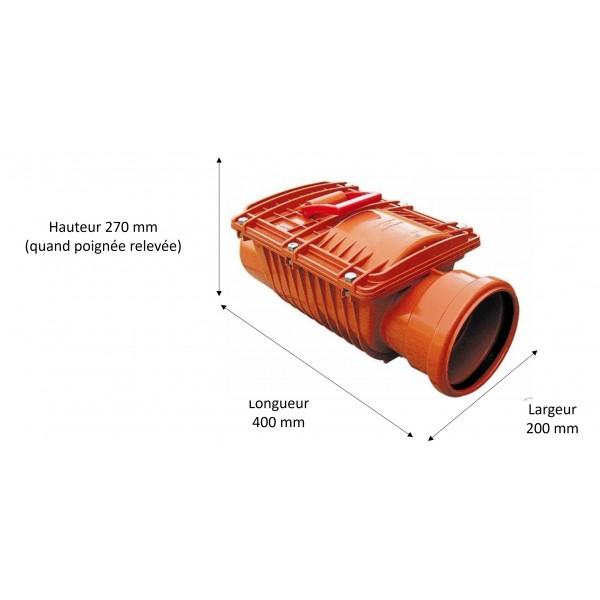 Dimensions du clapet anti-retour diamètre 125